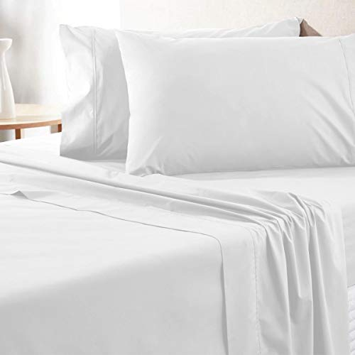 Luxurious King-Size Egyptian Cotton Sheets - 700 Thread Count 4 Piece Bedding Set, Smooth Sateen Weave White Bedding, Comfortable Long Staple Cotton, 16 Inch Elasticized Deep Pocket