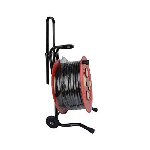 Cable de extensión del carrete de cable con mango, 30-100M 15A 220V Carrete de extensión de 4 enchufes con corte térmico e interruptor de alimentación, cable de extensión retráctil Soporte del cable