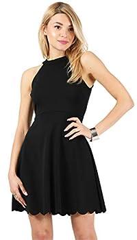 Simlu Womens Skater Halter Neck Dress with Scalloped Hem Cocktail Party Dress Reg and Plus Size  Size XXX-Large Black