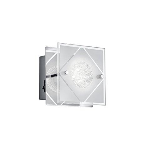 Reality, Applique, Mara incl. 1 x LED,GU10,3,0 Watt,3000K,230 Lm. Verre satiné, Blanc, Corps: metal, Chrome L:12,0cm, H:12,0cm, P:9,0cm IP20,Interrupteur,Montage au mur