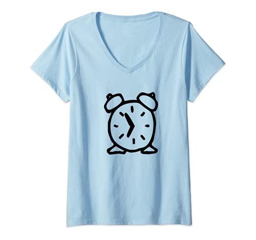 Mujer Reloj despertador de dibujos animados Camiseta Cuello V