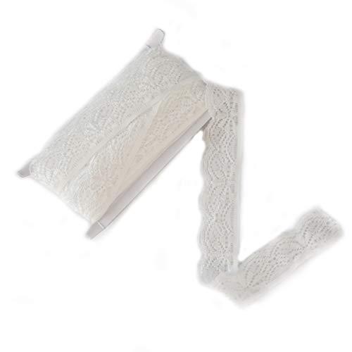 ELLAMAMA Elastic Lace Trim Soft Stretch DIY Craft Delicate Ribbon Vintage 5/8 Inch Wide 10yds for Wedding Decorations Headbands Garters (White)