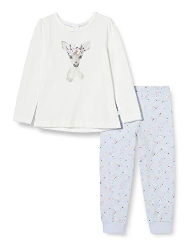 Sanetta Mädchen Schlafanzug Broken White Bezaubernder Pyjama eindrucksvollen Rehkitz-Artwork, beige, 092
