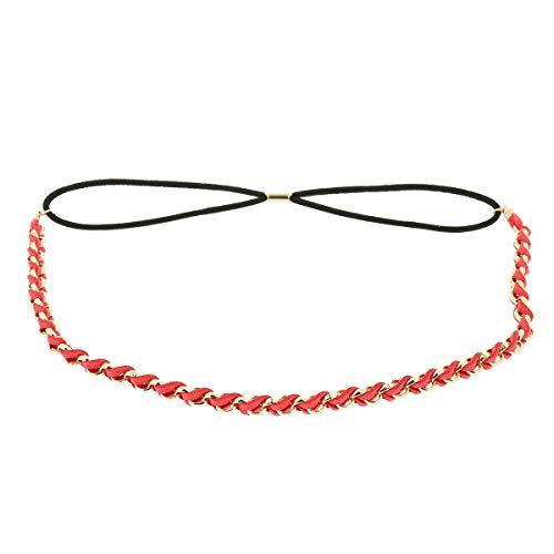 Bandeau Cheveux Femme Rouge corail - Headband Doré Tressé Suédine aspect Velours - Bandeau Fin Taille unique - Headband Mariage Vintage - Look original Boho, Bohème, Hippie Chic
