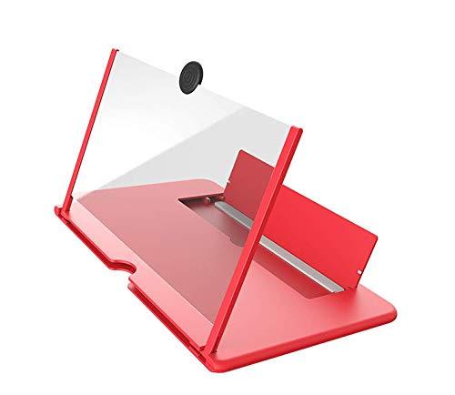 """12"""" Lente de aumento de tela de 3D HD, tela dobrável do telefone móvel (Vermelho)"""