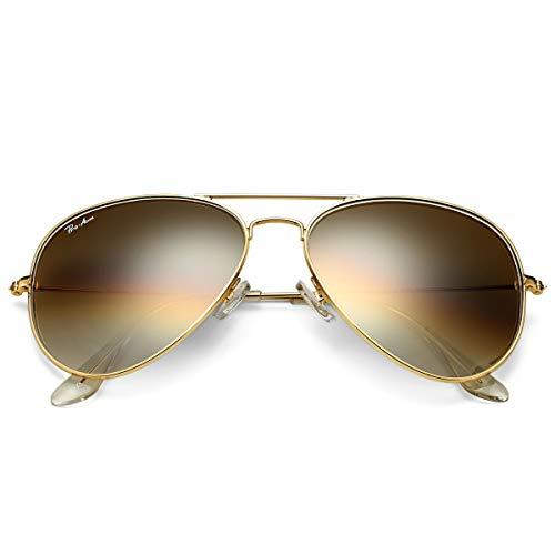 Pro Acme Gafas de sol clásicas de aviador para hombres y mujeres 100% lente de cristal real, dorado/marrón (Gold/Brown Gradient), Medium