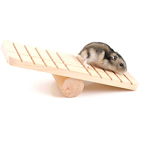 Fliyeong Hamster Toys Haustier Wippe Holzplattform Klettern Spielen Eichhörnchen Ratte Meerschweinchen Kleintiere Spielzeug Übung