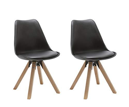 Duhome 2er Set Stuhl Esszimmerstühle Küchenstühle Farbauswahl mit Holzbeinen Sitzkissen Esszimmerstuhl Retro 518M, Farbe:Schwarz, Material:Kunstleder