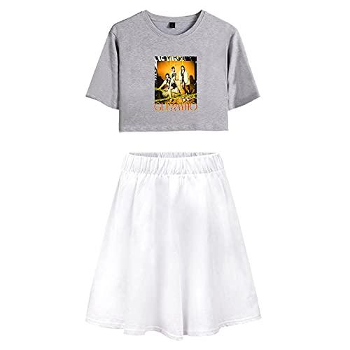 NCTCITY Mujeres Crop Tops + Faldas Skater Set ITZY Casuales T-Shirts & Falda Acampanada Guess Who Impresión Hip Hop Sexy Traje de Dos Piezas Yuna RYUJIN CHAERYEONG Lia YEJI