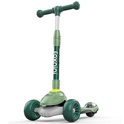 Lihgfw Scooter for Kinder Kleinkind-Scooter, faltbar und verstellbar in Höhe, Lean to Steer 3-Rad-Roller for Kleinkind-Kind-Jungen-Mädchen-Alter 3-8, Blitz-Rad (Color : Grün)