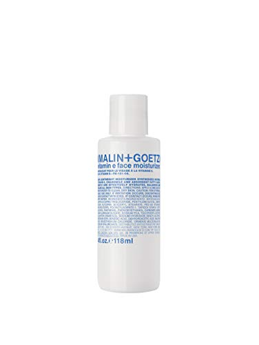 Malin + Goetz Vitamin E Face Moisturizer — balancing + nourishing for ALL skin types. multitasks as a hydrating serum, anti aging face lotion, after shave, makeup primer. cruelty-free + vegan, 4 Fl oz