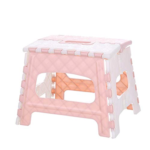 Price comparison product image Fan-Ling Plastic Multi Purpose Folding Step Stool, Bathroom Children Small Bench, Portable Adult Outdoor Fishing Stool, Home Train Outdoor Storage Foldable (Pink)