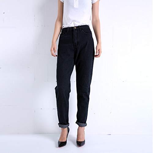 KXDNZK ZKKXDN Harem Broek Vintage Hoge Taille Jeans Vrouw Jongens Vrouwen Jeans Volledige Lengte Moeder Jeans Cowboy Denim Broek 28 Zwart