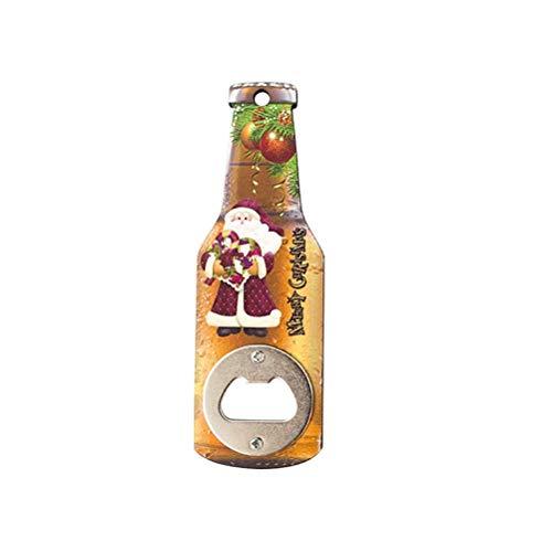 Abrebotellas Abrelatas Creativo Navidad Abridor de botellas de madera Impresión navideña Abridor de botellas de cerveza Refrigerador Pegatinas magnéticas (Santa Claus)