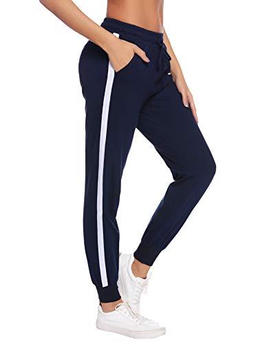 Aibrou Damen Sporthose Jogging Hose Lang Baumwolle Sportbekleidung Schlafanzughose Pyjamahose Nachtwäsche Blau-2 XXL