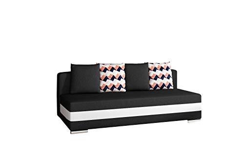 MOEBLO Sofa mit Schlaffunktion und Bettkasten, Couch für Wohnzimmer, Schlafsofa Federkern Sofagarnitur Polstersofa Wohnlandschaft mit Bettfunktion - Walia (Schwarz+Weiß (Sawana 14+Soft 17+Zigzag60))