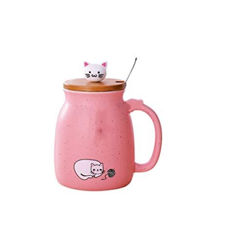 Taza de agua con tapa especial de cerámica para niñas, diseño de gato lindo taza de agua, oficina, hogar, princesa, taza de agua de acero inoxidable