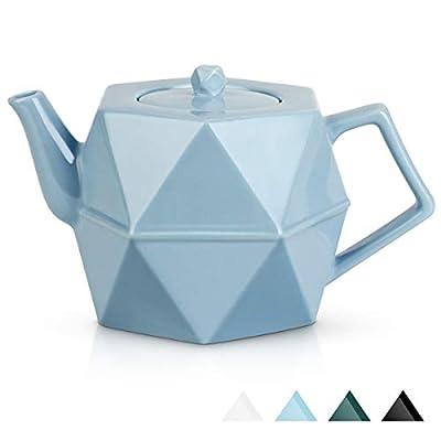 Teapot, Toptier Porcelain Teapot with Stainless Steel Infuser for Loose Tea, Diamond Design Ceramic Tea Pot for 34 Ounce (1000 ml), Blue