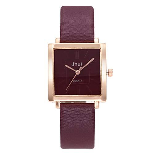 Windtoruhren für Damen, schlichte, stilvolle quadratische Armbanduhren, Lederband, Quarzuhrwerk, Armbanduhren weinrot