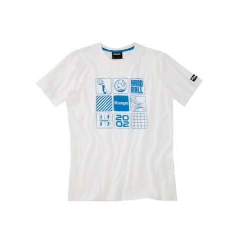 Kempa Icons T-Shirt Hand Homme, Blanc Bleu, FR : M (Taille Fabricant : M)