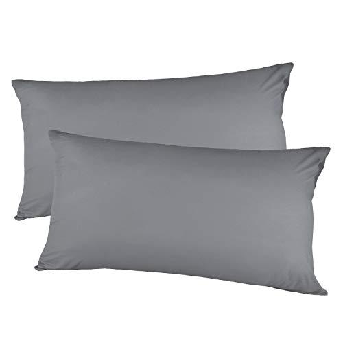 Kissenbezug kissenhülle Kopfkissenbezug Bettkissenbezug Pillowcase, Adoric Life [2er Set] Kissenbezug 100% Mikrofaser, 40 cm x80 cm.(Grau)