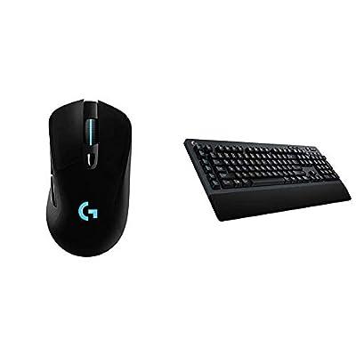 Logitech G703 Lightspeed Wireless Gaming Mouse W/Hero 16K Sensor, PowerPlay Compatible, Lightsync RGB, Lightweight 95G+10G Optional, 100-16, 000 DPI, Rubber Side Grips - Black by