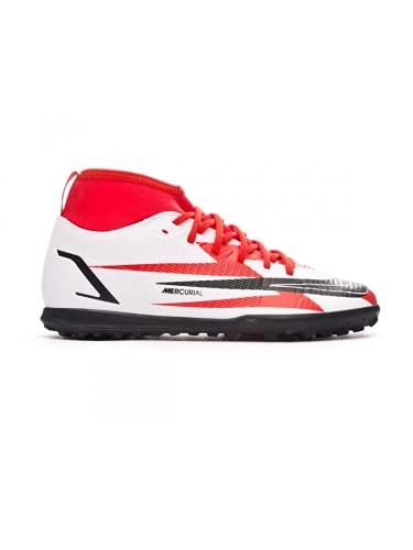 Nike JR Superfly 8 Club CR7 TF, Zapatillas de ftbol, Chile Red Black White Total Orange, 36.5 EU