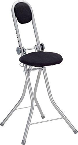 axentia Stehhilfe schwarz,  6-fach höhenverstellbare Bügelstehhilfe, Stehhocker klappbar, Stehsitz aus hochwertig verarbeitetem Metall, schwarz, Maße: ca. 47 x 48 x 90 cm