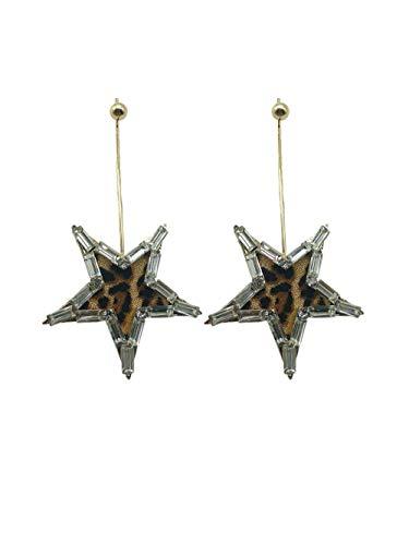 Overdreven grote Pentagram oorbellen Leopard ster oorbellen voor ronde gezicht oorbellen