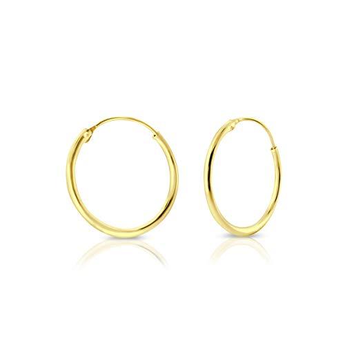 DTPsilver - Damen - Creolen - Ohrringe 925 Sterling Silber und Gelb Vergoldet - Dicke 1.2 mm - Durchmesser 25 mm