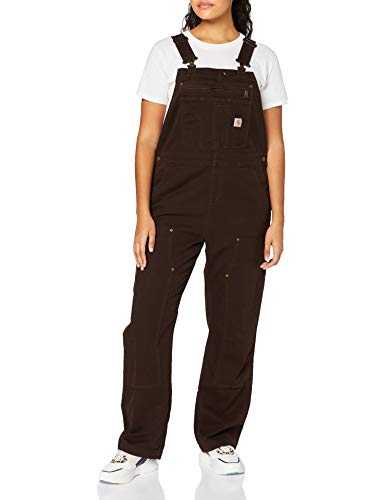 Carhartt Crawford Double Front Bib Overall Overol, Dark Brown, X-Small para Mujer