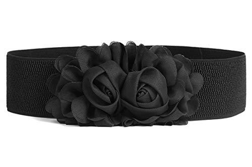 TeeYee Damen Mädchen Zwei Decor Blumen Einstellbar Elastische Breite Gürtel (L, schwarz)