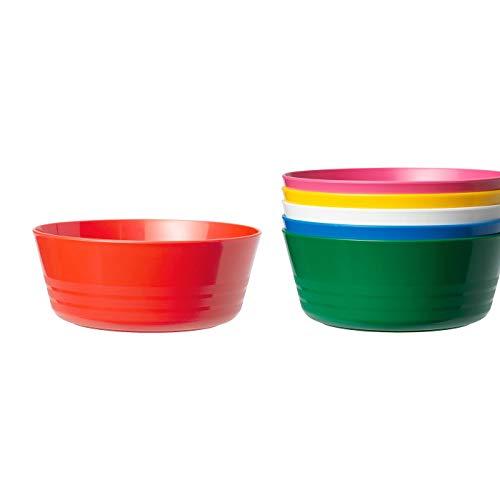 Schüssel, mehrfarbig, kratzfest, grifffreundlich, unschädlicher Kunststoff, Produktgröße Durchmesser: 12 cm, Lieferumfang: 6 Stück, Material: Polypropylen-Kunststoff