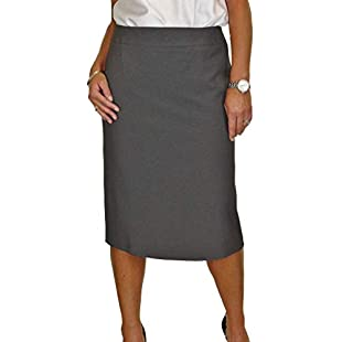 ICE Calf Length Washable Lined Pencil Skirt Back Detail Grey Tweed 10-22 (22):Viralbuzz