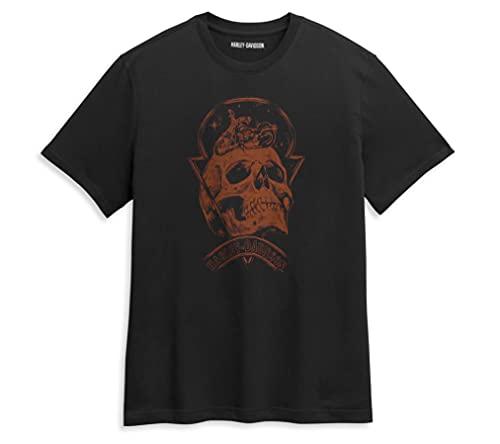 HARLEY-DAVIDSON Herren T-Shirt aus Baumwolle Skull Space Tee Shirt - Kurzarm Oberteil für Männer mit Rippstrick Rundhals, M