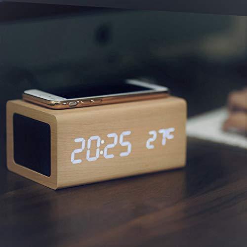【2021最新】 置き時計 めざまし時計 高音質 bluetooth5.0 ワイヤレス スピーカー付き おしゃれ 充電時計 温度計 多機能 デジタル 卓上 アラームクロック 技適認証済み メーカー1年保証 (自然な木目)