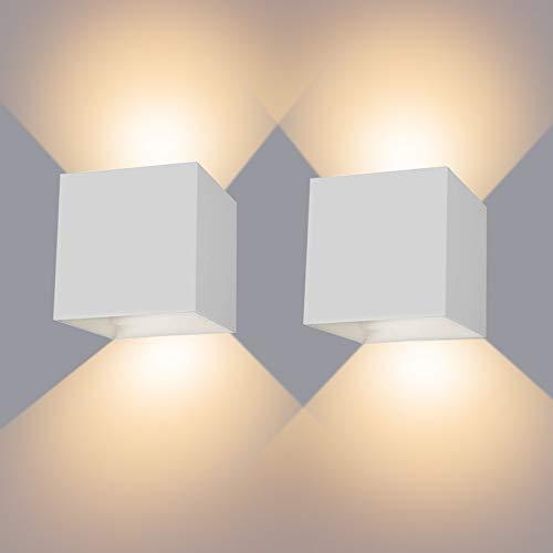 LED Wandleuchte 12W 2er Pack Wandlampe Wandbeleuchtung LED mit Einstellbar Abstrahlwinkel Innen/Außen 2800-3000K Warmweiß IP65 Wasserdichte