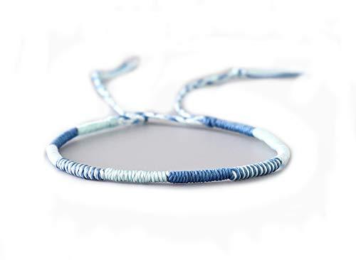 EXINOX Bracciale in filo di cera tessuto; per uomo e donna, braccialetto dell'amicizia, fatto a mano., Cotone,