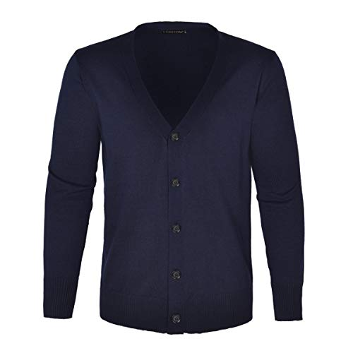 VOBOOM Men's Cotton Cardigan Sweater V-Neck Basic Designed Button Down Thin Knit Sweater (Large, Navy)