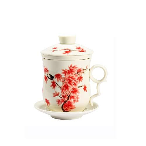 ufengke Tazza Da Tè Porcellana Cinese, Motivo Acero Rosso, Tazza Da Tè Fatta A Mano Con Filtro,1 Set Di 4 Pezzi, Per Regalo, La Famiglia E Ufficio -Bi