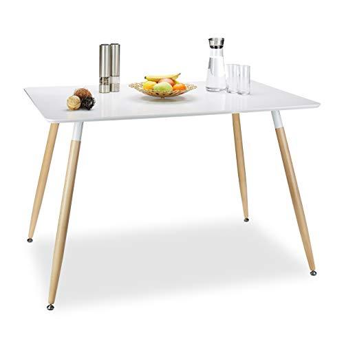 Relaxdays Table à manger ARVID rectangle table de salon table appoint en bois HxlxP: 75 x 120 x 80 cm design scandinave nordique, blanc