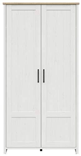 Boardd Loksa Armario de 2 puertas grande de almacenamiento para pasillo, dormitorio, cajones, armario, muebles de madera aglomerada, pino/nieto blanco Andersen, decoración de roble, 102 x 201 x 43 cm