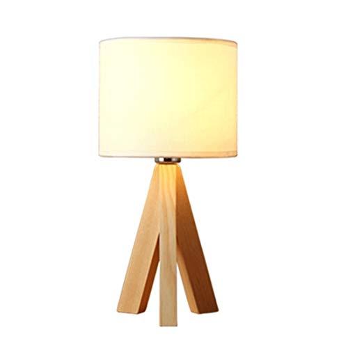 Lámpara de escritorio Lámpara de Mesa Lámpara de mesa de madera Trípode Lino blanco Lámpara de lectura moderna Lámpara de lectura Lámpara de noche for dormitorio, sala de estar, Oficina