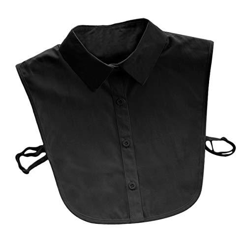 EQLEF Fake Kragen Damen Schwarz Baumwolle Damen Abnehmbare halbe Hemdbluse Gefälschtes Kragenhemd (Schwarz)