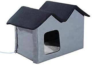 Outdoor Electric Heated Kitty Cat House Bed Waterproof Winter Shelter Warm Grey