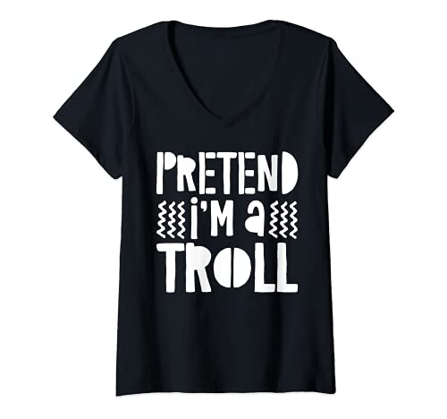 Mujer Camisa de regalo para disfraz de pretender I'm A Troll Camiseta Cuello V