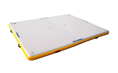 Swim Central 8' Inflatable White and Yellow Private Solstice Drop Stitch Lake Dock