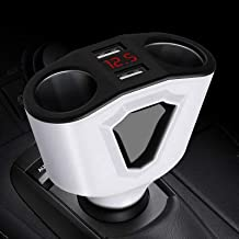 RONSHIN Universal 12V-24V Car Splitter Cigarette Lighter Socket Power Adapter 3.1A Dual USB Car Charger 120W Output with Voltage Display white Auto Parts