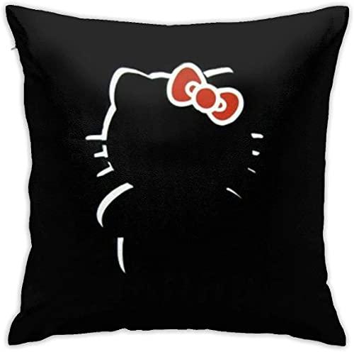KINGAM Fundas de almohada decorativas suaves de Hello Kitty, funda de cojín cómoda, funda de almohada de lujo para sofá, cama, silla, coche, decoración del hogar (45 x 45 cm)