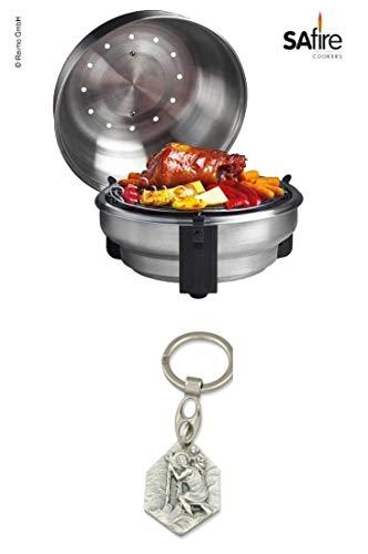 Zisa-Kombi SAfire Grill und Barbecue Roaster zum Grillen, Braten und Räuchern (93298891661) mit Anhänger Hlg. Christophorus